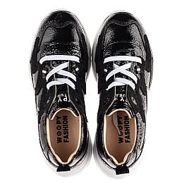 Детские кроссовки (шнурок-резинка) Woopy Fashion черные для девочек натуральная лаковая кожа и замша размер 33-40 (8234) Фото 5