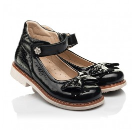 Детские туфли Woopy Orthopedic черные для девочек натуральная лаковая кожа размер 29-36 (8247) Фото 1
