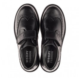 Детские туфли Woopy Fashion черные для мальчиков натуральная кожа размер 31-37 (8301) Фото 5