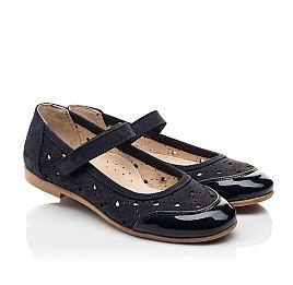 Детские туфли Woopy Fashion синие для девочек лаковая кожа/нубук размер 29-37 (8307) Фото 1