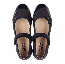Детские туфли Woopy Fashion синие для девочек лаковая кожа/нубук размер 29-37 (8307) Фото 5