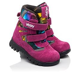 Детские зимние ботинки на шерсти Woopy Fashion малиновые для девочек натуральная замша и искуственный материал размер 21-33 (8381) Фото 1