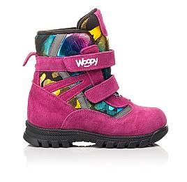 Детские зимние ботинки на шерсти Woopy Fashion малиновые для девочек натуральная замша и искуственный материал размер 21-33 (8381) Фото 4